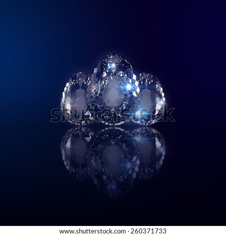 ovate Diamond Eggs on blurred Space background
