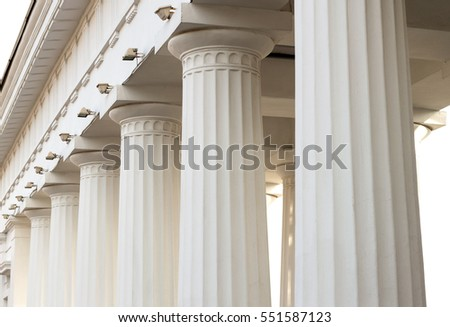 Overhead part of large white columns