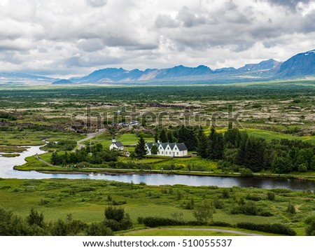 Overlook of Thingvellir National Park in southwestern Iceland