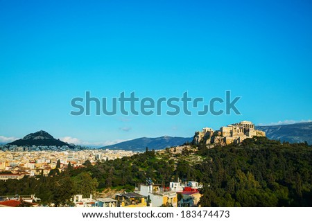 Overview of Acropolis in Athens, Greece on a sunny day