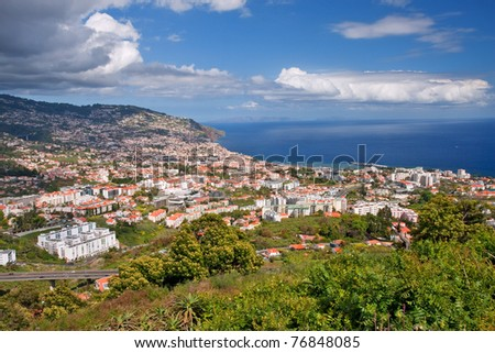 overview of capital city funchal on madeira island, portugal