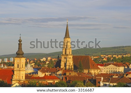 Overview of Cluj Napoca city- the heart of Transylvania.The Catholic Saint Michael cathedral-center.