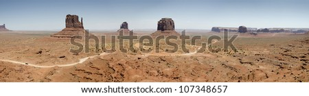 overview of Monument Valley , Navajo reserve in Arizona in the United States of America