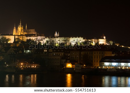 Overview of old Prague in night, Czech Republic