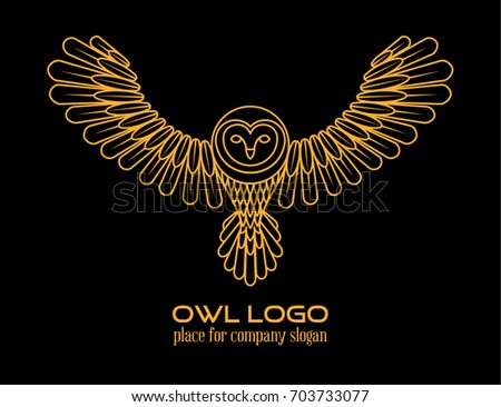 Cute Simple Line Art : Owl logo line art template orange stock illustration