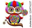 Owl Psychedelic Rainbow Lollipop - stock photo