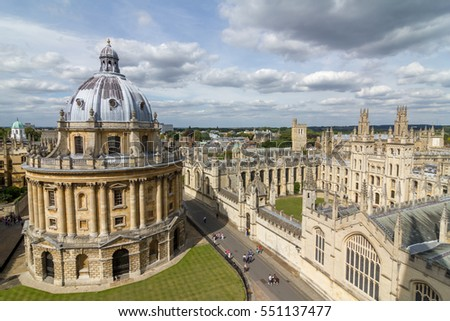 OXFORD, ENGLAND - JULY 21, 2012 : view of Oxford, England. Oxford is known as the home of the University of Oxford.