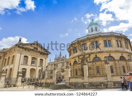 Oxford, UK - May 15, 2016; Bodleian bookstores in Oxford, UK, with people around
