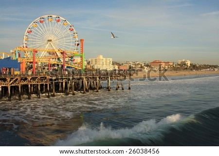Pacific Ocean and the Santa Monica Pier in Southern California