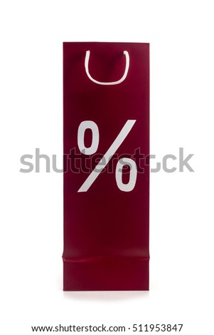 package with symbols of percent on a white background