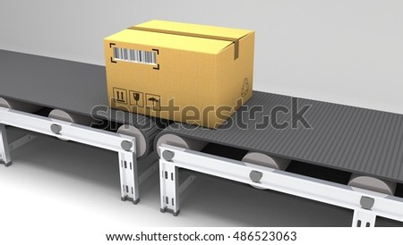 Packages delivery, packaging service and parcels transportation system concept, cardboard boxes on conveyor belt in warehouse, 3d illustration for use in presentations, education manuals, design, etc.