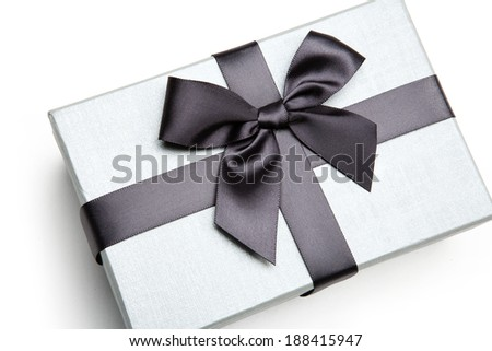Packaging gift box / studio photography of black and white box wrapping ribbon with bowknot - on white background