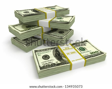 Packs of dollars on white background. 3d