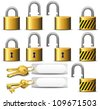 Padlock and Key - A set of Padlocks and Keys in Brass - Raster Version - stock vector