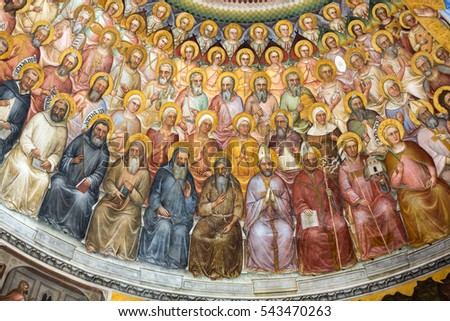 PADUA, ITALY - MAY 3, 2016: The frescos in Baptistery of Duomo or The Cathedral of Santa Maria Assunta by Giusto de Menabuoi (1375-1376).