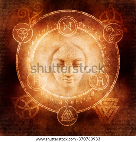 Pagan White Magic design with a mysterious female sorceress materialising within a magic circle of elaborate pagan and runic symbols.