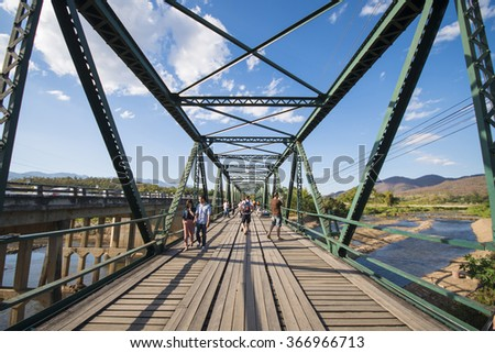 PAI, MAE HONG SON PROVINCE, THAILAND - DECEMBER 26, 2015: World War II Memorial Bridge in Pai was built during World War 2 by the Japanese Army on december 26, 2015, nothern of Thailand