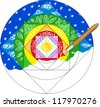Paint brush painting a rainbow colored mandala - stock photo