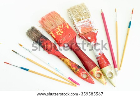 Paint brushes on a white background