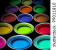 Paint buckets with colors - stock photo