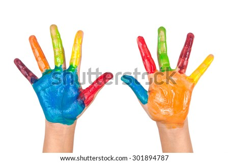 Painted colorful hands of kid on white background