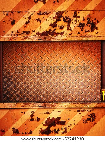 painted rusty metal background with copy-space