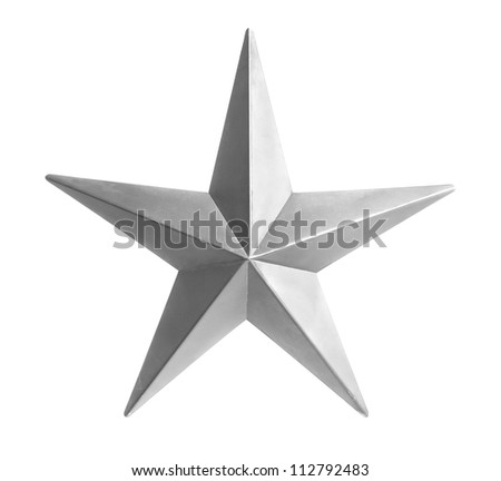 Painted silver star isolated over white background - With Clipping Path