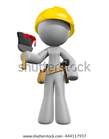 Painting Lady with Brush and Tools Ready to Work 3d render illustration