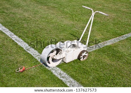 Painting lines football on the field
