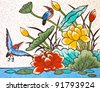 painting of bird and lotus on the wall in chinese temple - stock photo