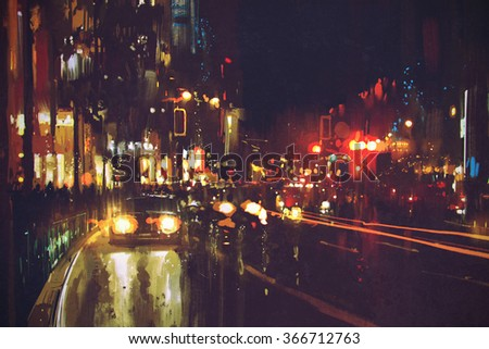 painting of night street with colorful lights