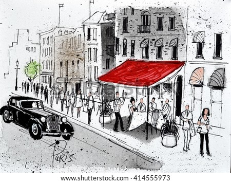 Painting of old street restaurant in Paris with pedestrians and vintage car
