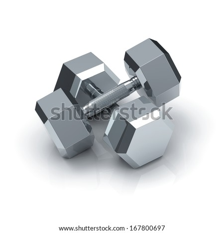 pair equal chrome hex dumbbells on white background with shadow and reflection