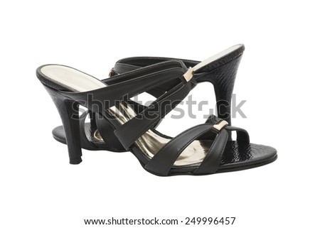 pair of black high heel shoes for lady on white background