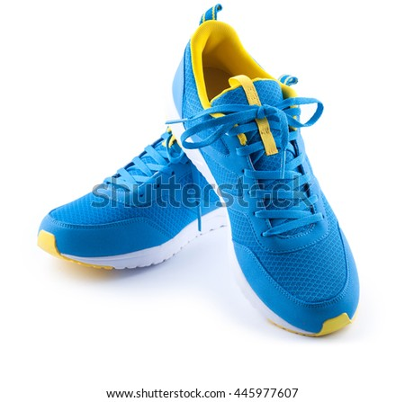 Pair of blue sport shoes isolated on the white background