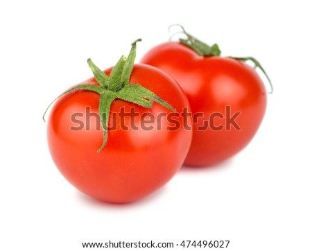 Pair of ripe red tomato isolated on white background