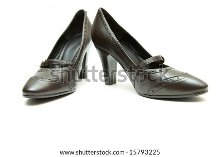 pair of women shoes over white background