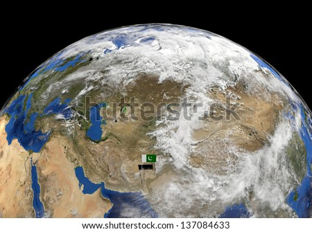 Pakistan flag on pole on earth globe illustration  - Elements of this image furnished by NASA