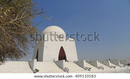 Pakistan's most famous mausoleum of the founder of Pakistan, Muhammad Ali Jinnah - Mazar-e-Quaid. Iconic symbol of Karachi & Pakistan