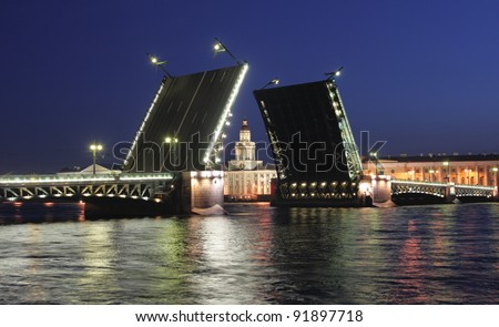 Palace Bridge is a road traffic and foot bascule bridge spanning the Neva River in Saint Petersburg between Palace Square and Vasilievsky Island. St Petersburg, Russia.