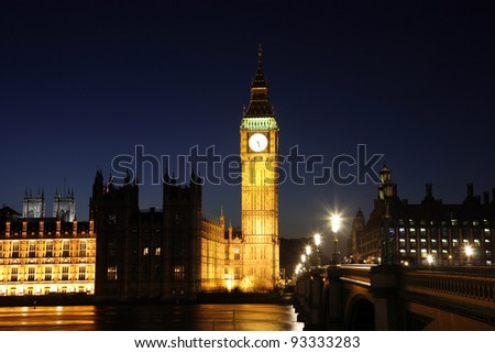 Palace of Westminster, seen from Westminster Bridge, at Night