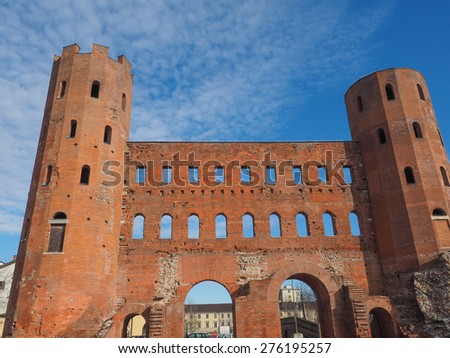 Palatine towers Porte Palatine ruins of ancient roman town gates in Turin