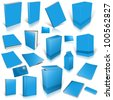 Pale blue 3d blank cover collection, isolated on white - stock photo