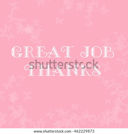 pale butterflies scattered on pink thank you note illustration