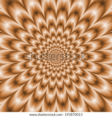 Pale Orange Chrysanthemum / A digitally rendered fractal image with a Chrysanthemum flower design in a washed out pale orange color.