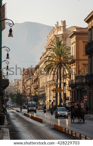 PALERMO / ITALY - AUGUST 2013: Street of the old city of Palermo in the morning, Sicily, Italy