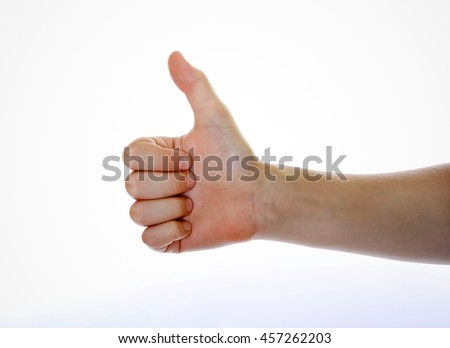 Palm of a kid hand over white background