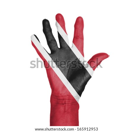 Palm of a woman hand, painted with flag of Trinidad and Tobago