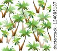 Palm tree on white background. watercolor. seamless pattern. - stock photo