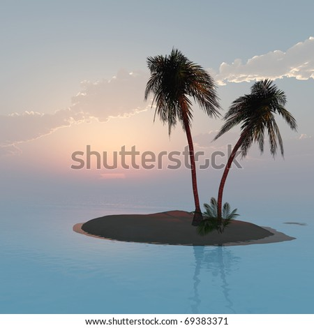 Palms island at sunset sea